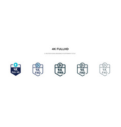 4k fullhd icon in different style two colored vector