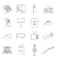 Advertising set icons in outline style Big vector