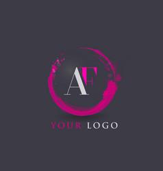 Af letter logo circular purple splash brush vector