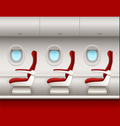 airplane salon interior with passenger red seats vector image