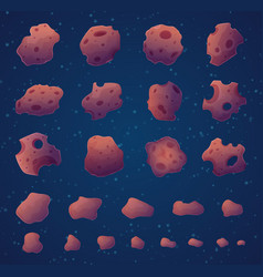 Asteroids space rocks stars and fantasy planets vector