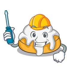 Automotive cinnamon roll mascot cartoon vector