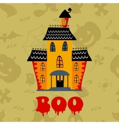 Boo card with haunted house vector image