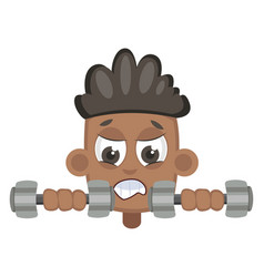 boy lifting weights on white background vector image