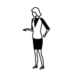 businesswoman full length gesturing with her hands vector image