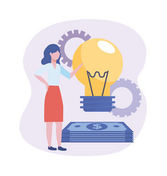 businesswomen with bulb idea and bills with gears vector image