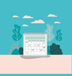 calendar reminder with forest landscape vector image