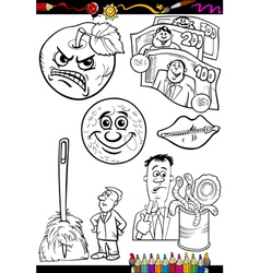 cartoon sayings set for coloring book vector image