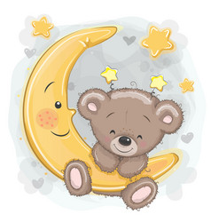 cartoon teddy bear on moon vector image