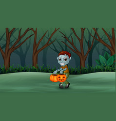 Cartoon zombies in the dead forest vector
