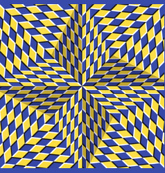 Checkered yellow blue four pointed star optical vector