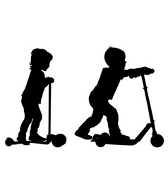 children silhouettes learn to ride scooter vector image