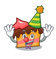Clown sponge cake mascot cartoon vector