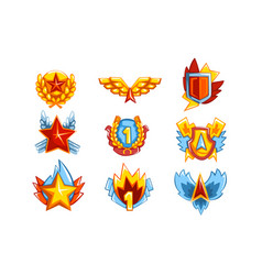 collection colorful medals in various shapes vector image