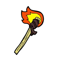 comic cartoon burning torch vector image