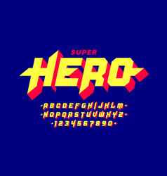 Comics style super hero font capital alphabet vector