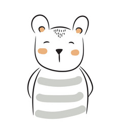 cute doodle bear simple hand drawn vector image