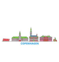 Denmark copenhagen line cityscape flat vector
