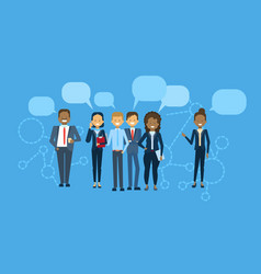 Diverse group of businesspeople with chat bubble vector
