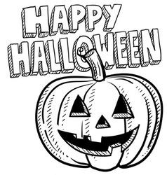 Doodle happy halloween jack o lantern pumpkin vector