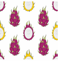 Dragon fruit seamless pattern for design vector