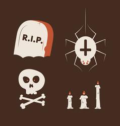 duotone cartoon halloween symbols set smiley and vector image