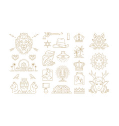 esoteric and mystic linear symbols set vector image