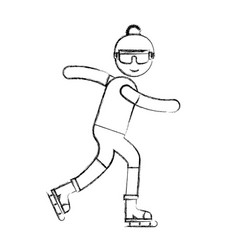 ethlete practicing ice skate avatar vector image
