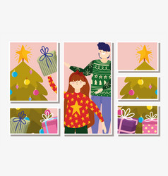 family with gifts trees decoration merry christmas vector image