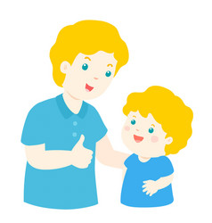 Father admire son character cartoon vector