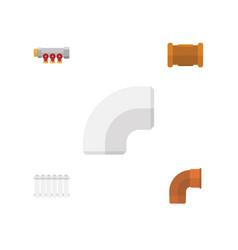 flat icon pipeline set of iron radiator pipework vector image