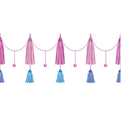 Fun pink decorative long tassels set vector