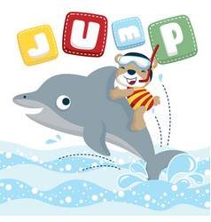 Funny diver cartoon ride on cute dolphin vector