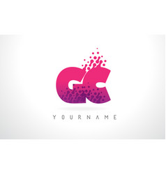 gc g c letter logo with pink purple color and vector image
