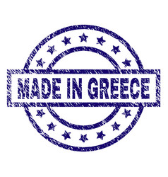 Grunge textured made in greece stamp seal vector
