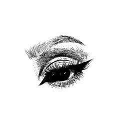 hand drawn women fashion eye make up vector image
