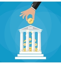 Hand putting golden coin into bank building vector image