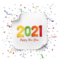 happy new year 2021 colorful paper abdtract vector image