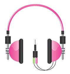Headphones pink vector image