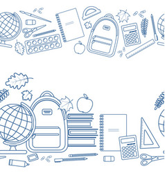 horizontal seamless borders of education items vector image