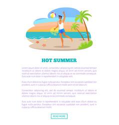 Hot summer vacation abroad advertisement banner vector