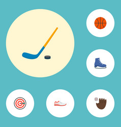 icons flat style skates sneakers basketball and vector image
