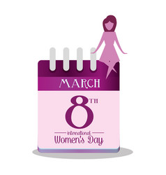 International womens day calendar march girl vector