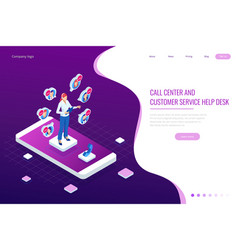 isometric communication support phone operator vector image