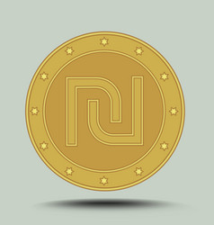 Israeli currency shekel embossed symbol in circle vector
