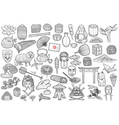 Japanese symbols set in hand drawn style vector