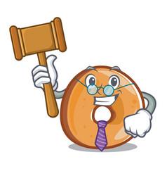 Judge bagels mascot cartoon style vector