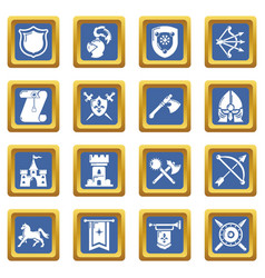 knight medieval icons set blue square vector image