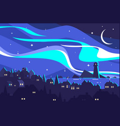 Landscape of northern lights vector