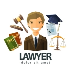 Lawyer attorney jurist logo design vector